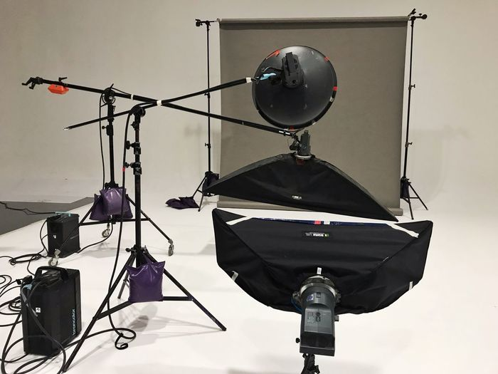 Photo Studio Low Angle View Lighting Equipment No People Arts Culture And Entertainment Built Structure Metal Sky Light Hanging Equipment