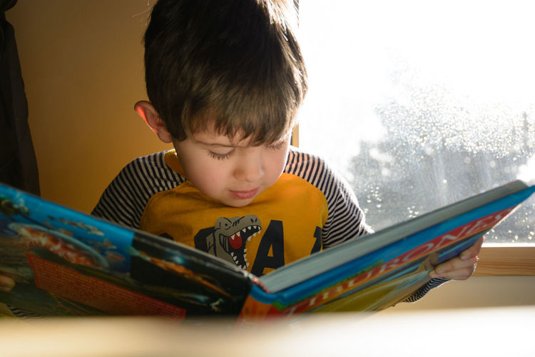 Rear view of boy reading book