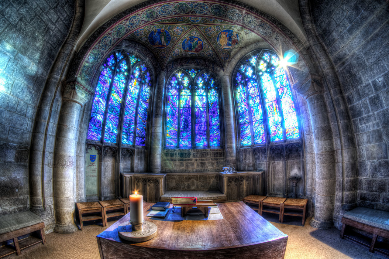 religion, place of worship, spirituality, window, indoors, architecture, no people, built structure, pew, day, illuminated