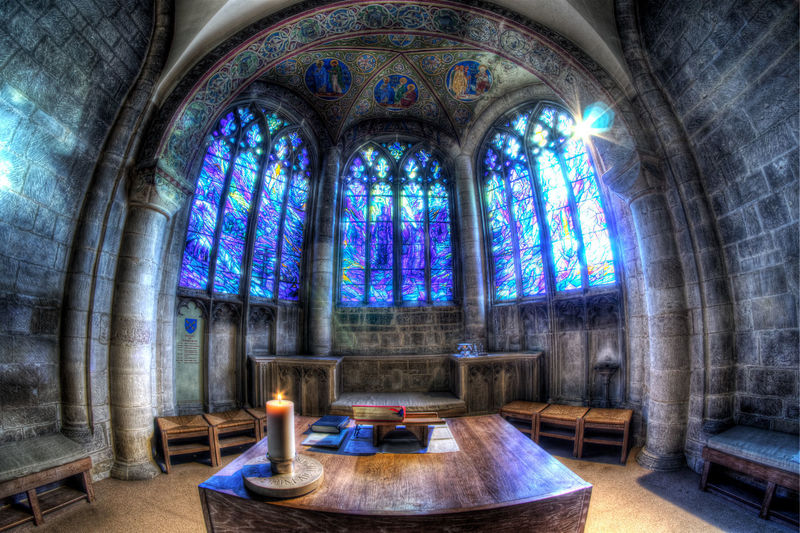 South-East Chapel #Bible #Blue #Chapel #HDR #LensFlare #Window #arch #architecture #atmospheric #candle #gloucester #gloucestercathedral #gloucestershire #hdrocknroll #highdynamicrange #historicbuilding #peace #sacredspace #saintthomas #southeastchapel #stainedglass #table #thomasdenny Pew