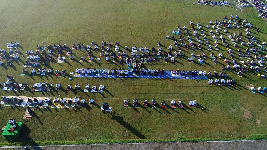 High angle view of people in row
