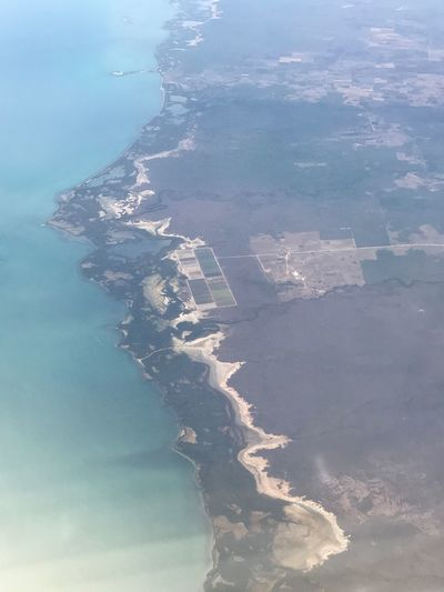Sea Water Aerial View Scenics Nature View Into Land Landscape Airplane Windows