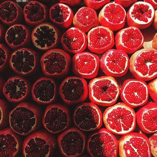 Full frame shot of red fruits