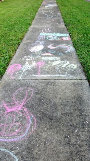 Sidewalk Art Summer Fun Sidewalk Children's Art Childhood Chalk Drawing Pastel Power Summer Colors Childs Play Art Is Everywhere