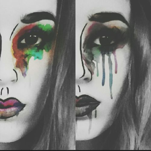 Two Sides to Every Story Snapchat Filter Edit Crying Colorful Darker Sadness Two Sides Happiness And Sadness Black And White Closeup Face Artsy Attempt Weakness