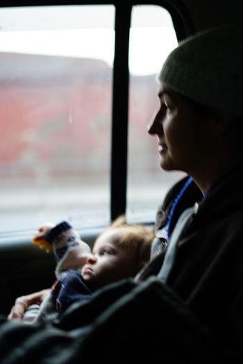 Portrait of boy looking through window