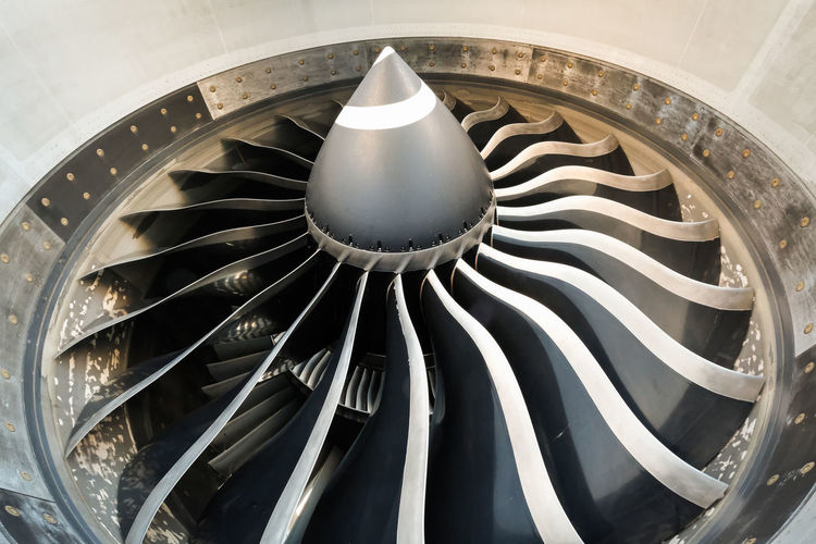 Aircraft Aircraft Engine Architecture Built Structure Close-up Container Crockery Design Focus On Foreground Ge90 Geometric Shape High Angle View Indoors  Machinery Metal Modern No People Pattern Shape Spiral Steel Still Life White Color