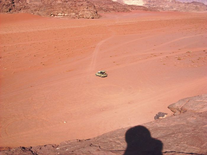 High angle view of people on desert
