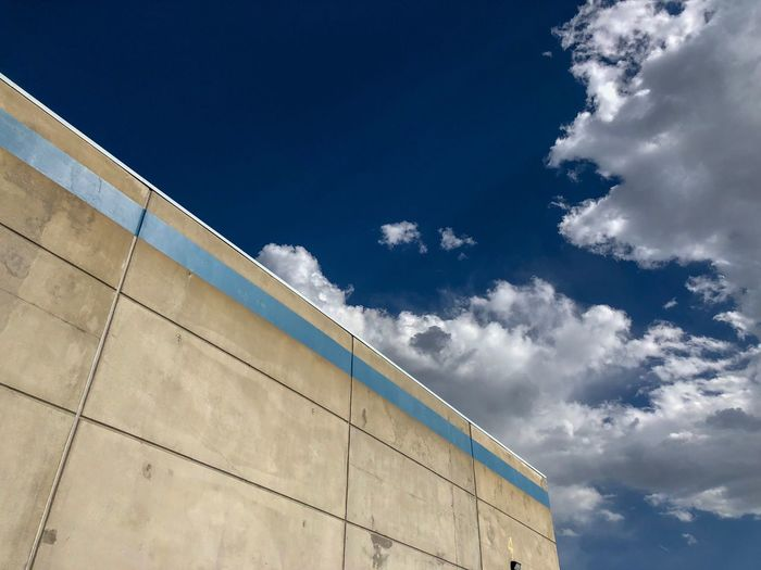 Sky Cloud - Sky Low Angle View Built Structure Architecture Building Exterior Nature Day Blue No People Outdoors Building Sunlight Wall - Building Feature Modern Industry