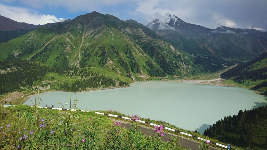Mountain Lake Water Landscape Scenics Nature Outdoors Agriculture Tree Beauty In Nature No People Mountain Range Tranquility Forest Flower Plant Day Rural Scene Terraced Field Sky Almaty Kazakhstan Adventure Hiking Nature
