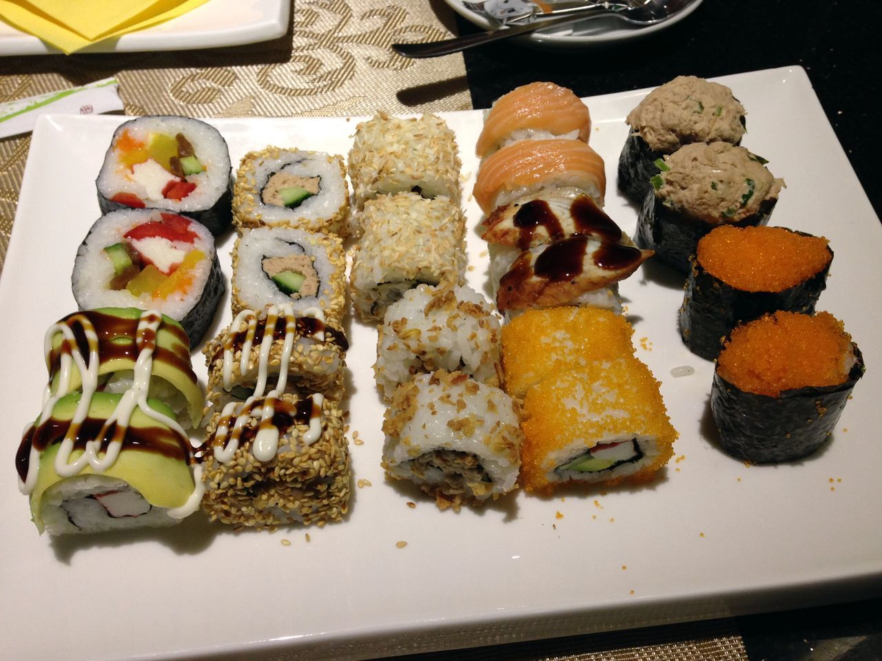 food and drink, food, ready-to-eat, plate, indoors, freshness, serving size, no people, indulgence, slice, healthy eating, table, appetizer, sushi, close-up, day