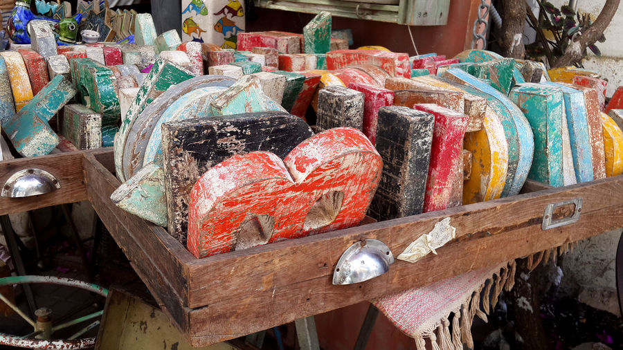 Close-up of multi colored alphabets for sale at market stall