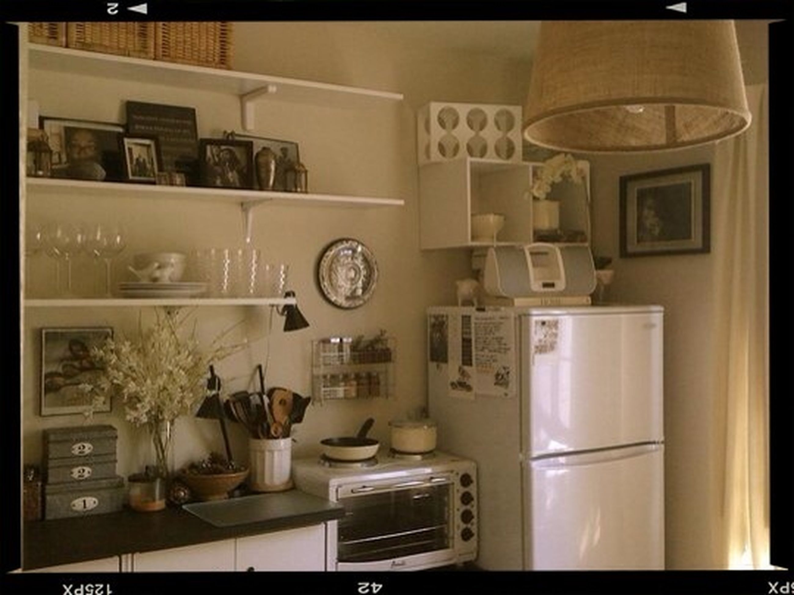 indoors, shelf, transfer print, table, still life, domestic kitchen, technology, home interior, auto post production filter, kitchen, communication, food and drink, no people, domestic room, variation, sink, close-up, large group of objects, bottle, kitchen utensil