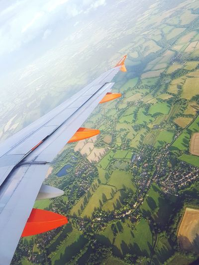 Airplane Airplaneview Flying Flying High Birds Eye View Scenics Scenery Scenery Shots Grass Green Trees Sky And Clouds Beauty In Nature
