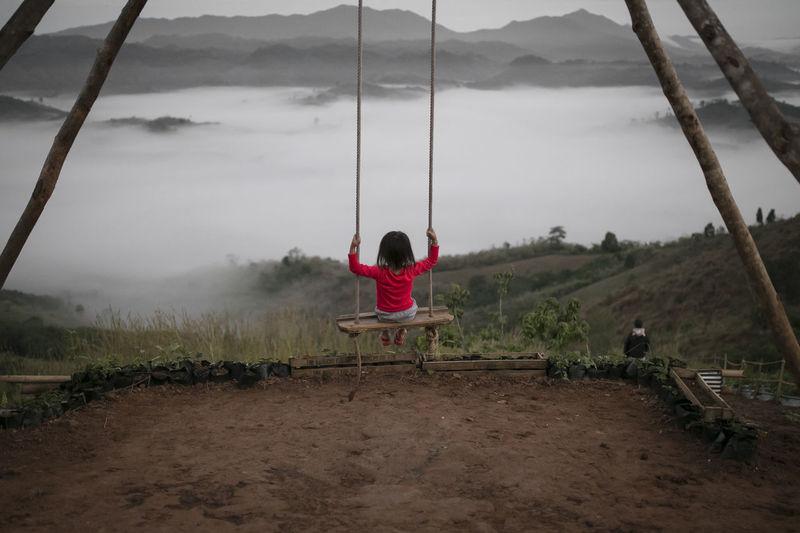 Rear view of girl swinging on swing against lake