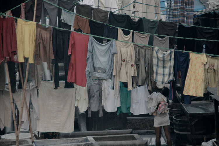 Clothes Drying On Clothesline In India