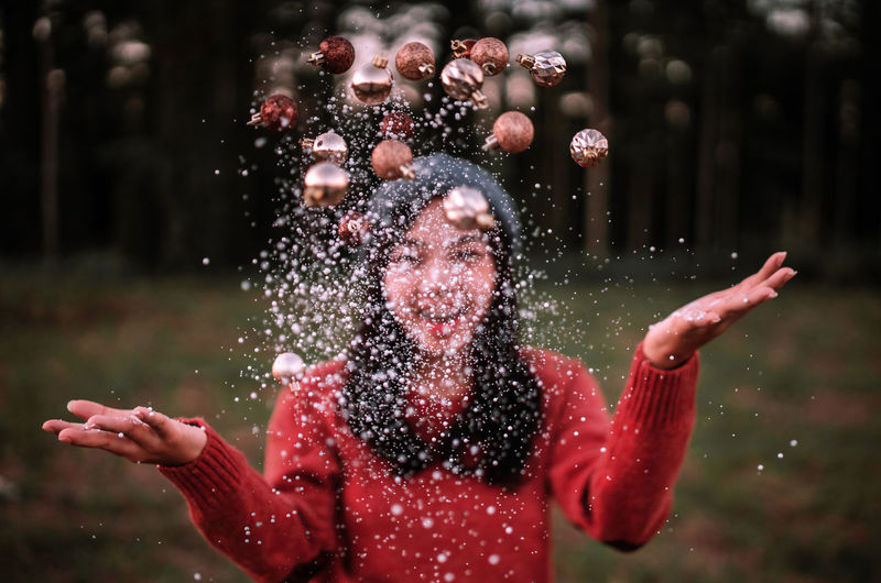 Throw Christmas Ball.❄🎅🎄. Happy women throw Christmas balls. Ball Women Christmas Ornament Celebration Christmas Lights Christmas Decoration Christmas Snowing Outdoors Day Emotion Nature Gesturing Human Arm Waist Up Standing Focus On Foreground Smiling Winter Lifestyles Portrait Leisure Activity Happiness Real People
