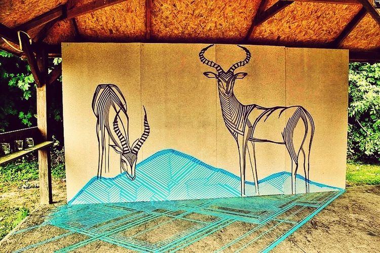 Impala antelopes created with tape. Tape Art Streetart Streetphotography Visual Statements