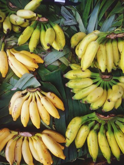 High angle view of yellow bananas for sale at market