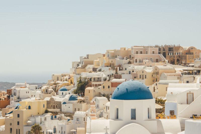 Townscape against clear sky - santorini island, oia, greece