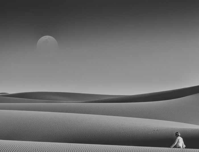 the lonely crossing Africa Blackandwhite Photography Moon Light Morocco, Desert Beauty
