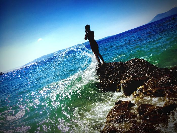 Ocean Water Vacations Beach Sea Real People Lifestyles One Person Leisure Activity Sky Nature Beauty In Nature Motion Wave Scenics - Nature Splashing Outdoors