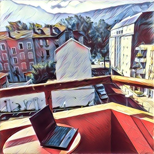 No People Outdoors Laptop ThinkPad Mobile Remote Work Remote Working Grenoble Balcony View Balcony France First Eyeem Photo Remote Working
