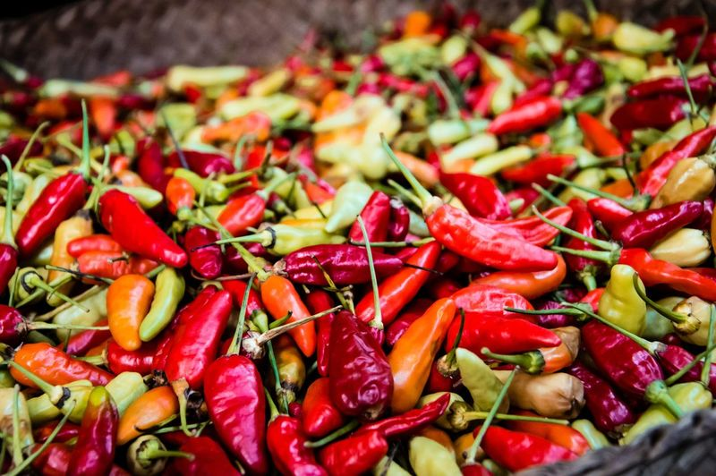 Close up of chilis Chili Pepper Food And Drink Market Nature Abundance Close-up Food Food And Drink Freshness Healthy Eating Large Group Of Objects Nature Pepper Red Spice Unordered Vegetable