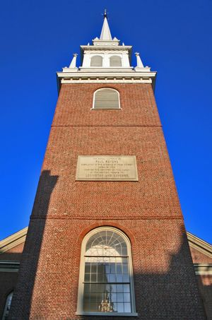Old North Church Historical Site Old North Church Architecture Blue Building Exterior Built Structure Clear Sky Day Low Angle View No People Outdoors Place Of Worship Religion Sky Spirituality