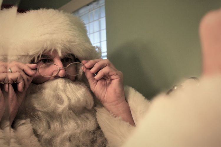 Santa getting ready for the big day Beard Christmas Close-up Dress Up Getting Dressed Holidays Kris Kringle One Man Only Santa Santa Claus