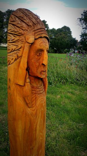 Sculpture Carving - Craft Product Grass Sky Creativity Outdoors Summer Carved Wood Wood Statue Totem Pole Woodcarving