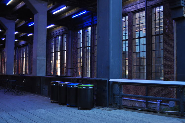 EyeEmNewHere High Line Park Light New York Architecture Blue Light Built Structure High Line Park, Nyc Illuminated No People Trash Can Waste Windows