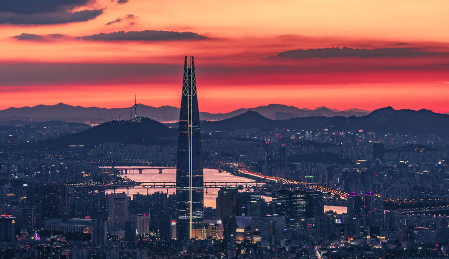 twilight sky in seoul city south korea Korea Seoul East South Korea Night Night Lights Korean Capital Namsan Tower  River Summer Sky Metropolis Sky Clouds City Cityscape Urban Skyline Mountain Illuminated Sunset Light Trail Urban Sprawl Long Exposure Skyscraper Skyline