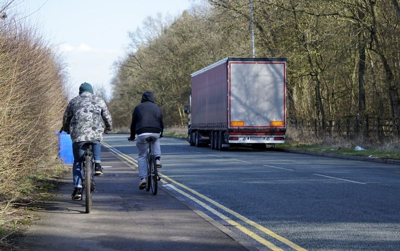 9963 Adult Adults Only Bicycle Bicycles Cold Day Fence Hgv Lorry No Cars  Occupation Only Men Outdoors Pathway People Road Sky Sky And Clouds Sky Trees And Clouds Transportation Tree Trees Uk Yellow Lines The Street Photographer - 2017 EyeEm Awards