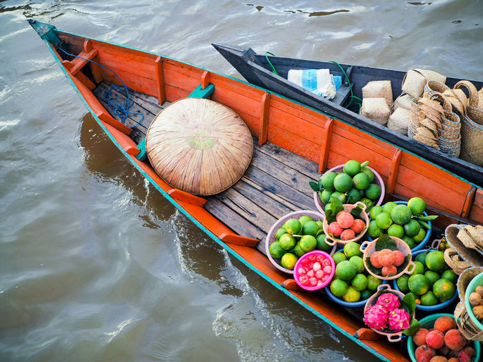 Floating Market Banjarmasin INDONESIA Water Nautical Vessel Fruit Beach Sea High Angle View Travel Food And Drink Gondola - Traditional Boat Boat