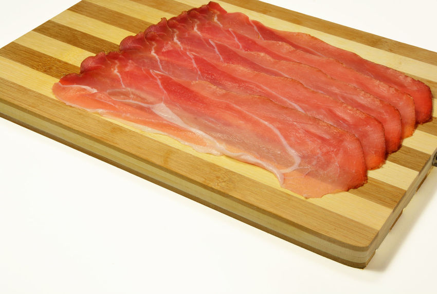 italian speck Beef Close-up Day Food Food And Drink Freshness Indoors  Meat No People Pork Raw Food Sashimi  SLICE Speck White Background