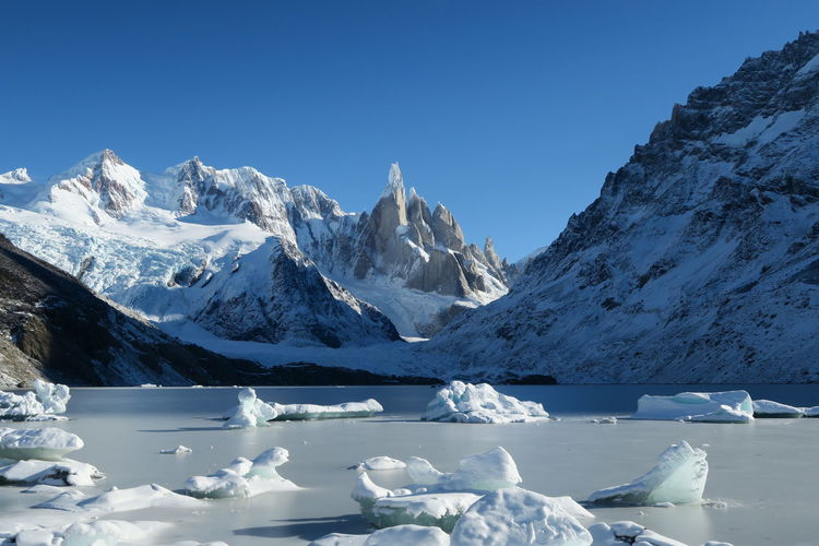 The moment when everything freezes Cerro Torre Fronzen Lake Argentina Beauty In Nature Clear Sky Cold Temperature Frozen Glacier Ice Iceberg Lake Mountain Mountain Peak Mountain Range Nature No People Snow Snowcapped Mountain Winter