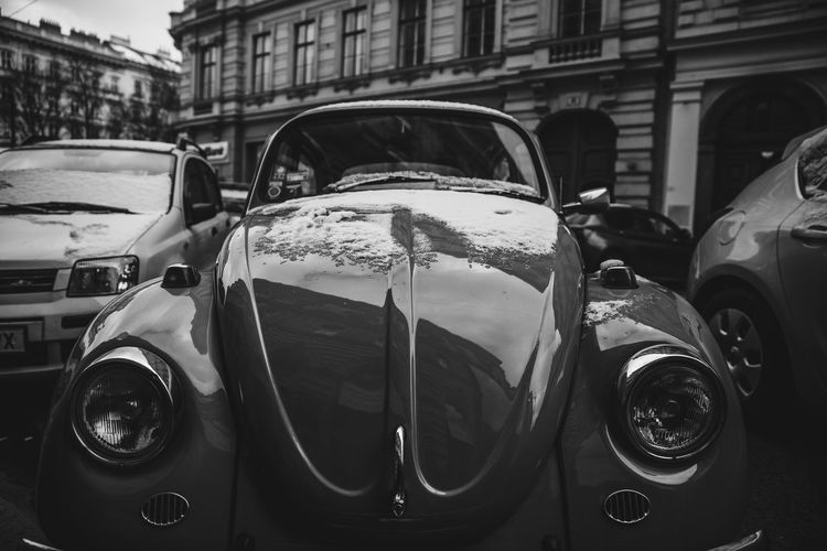 Vintage car. Bnw Blackandwhite Car Old Vintage VW VW Beetle Beetle Volkswagen Auto City No People Close-up Architecture