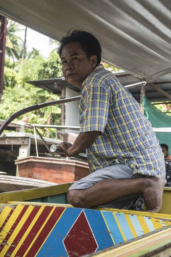 Bangkok Boat Colori Floating Market Gente Imbarcazione Man Mercato Galleggiante People Persone Thailand Thailandesi