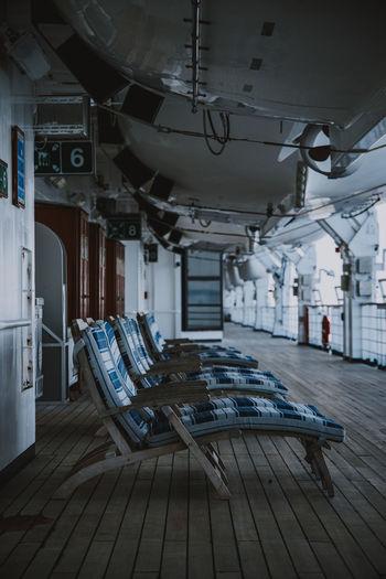 Empty deckchairs on cruise ship