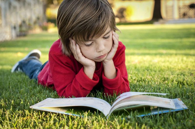 Portrait of boy sitting on book