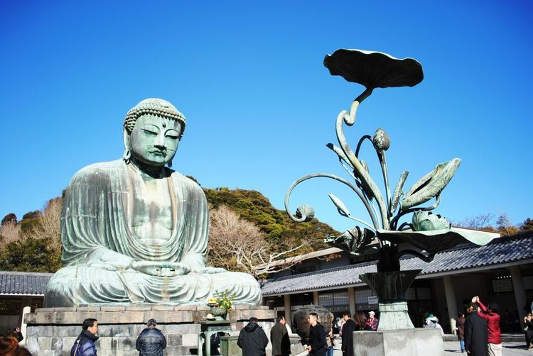 """Great Buddha"" (大仏 Daibutsu), a monumental outdoor bronze statue of Amida Buddha, which is one of the most famous icons of Japan at Jōdo-shū Buddhist temple in the city of Kamakura in Kanagawa Prefecture, Japan. Amida Buddha Great Buddha Of Kamakura Japan Kamakura Kamakura Daibutsu Kanagawa Prefecture Kotoku-in Temple Kōtoku-in Bronze Statue Great Buddha Religion Sculpture Statue"