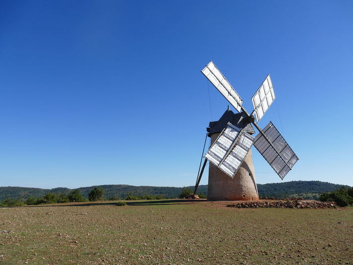 France Aveyron La Couvertoirade Windmill Blue Sky Clear Sky Copy Space Idyllic Historic Corn Mill White Wings White Color Touristic Attraction Tourism No People