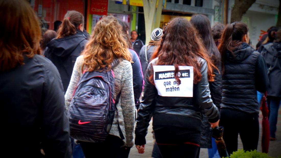 Woman Feminist Protest Rain MiercolesNegro Outdoors