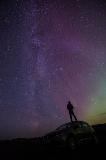 Adult Adults Only Astronomy Aurora Polaris Beauty In Nature Car Galaxy Iceland Landscape Milky Way Nature Night One Man Only One Person Only Men Outdoors People Photographer Sky Star - Space Transportation Travel Destinations Finding New Frontiers