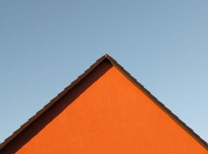 Roof Triangle Shape Sunny Architecture Close-up Sky Building Exterior Built Structure Geometric Shape Geometry Orange Color