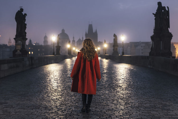 Rear view of woman walking on bridge by street lights at dawn