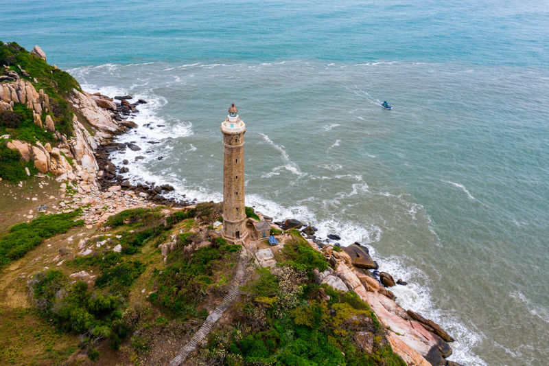 High angle view of lighthouse on beach