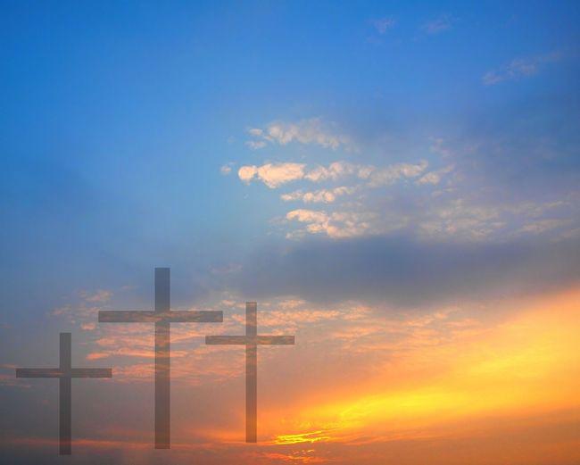 Three crosses against a beautiful sunrise - Easter theme Calvary Celebration Christianity Cut And Paste Easter Faith Golden Sky Resurrection Sacrifice Sunrise Three Crosses