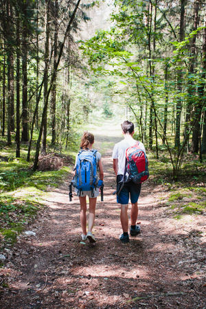Young boy and girl wandering in a forest on summer day equipped with backpacks Summertime Vacations Vitality Wandering Wanderlust Activity Adventure Backpack Boy Casual Clothing Footpath Forest Girl Hiker Hiking Leisure Activity Nature Outdoors Ramble Real People Rear View Summer Togetherness Two People Walking